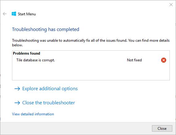 baza danych kafelków menu Start systemu Windows 10 jest uszkodzona