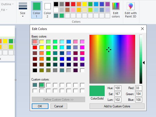 Dodaj kolory do palety kolorów MS Paint