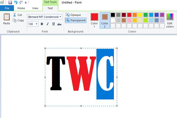 Zmień kolor tekstu w MS Paint