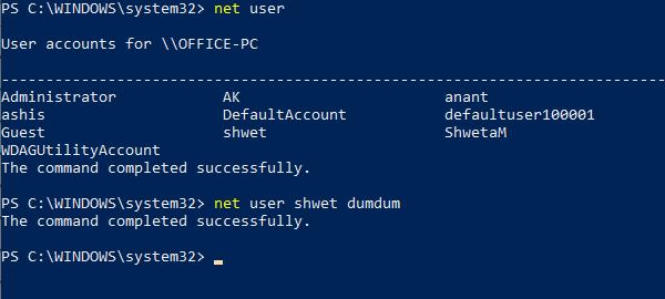 Polecenie użytkownika netto do użytkowników zarządzających