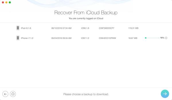 iCloud Backup Odzyskaj dane