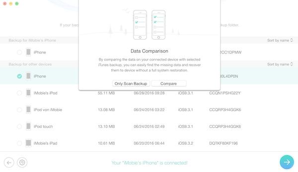 Porównaj dane kopii zapasowej telefonu i iTunes