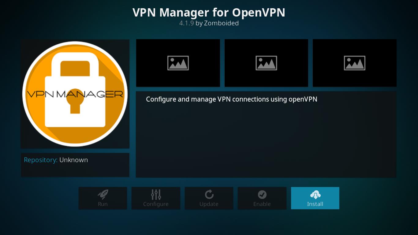 Dodatkowy ekran VPN Manager