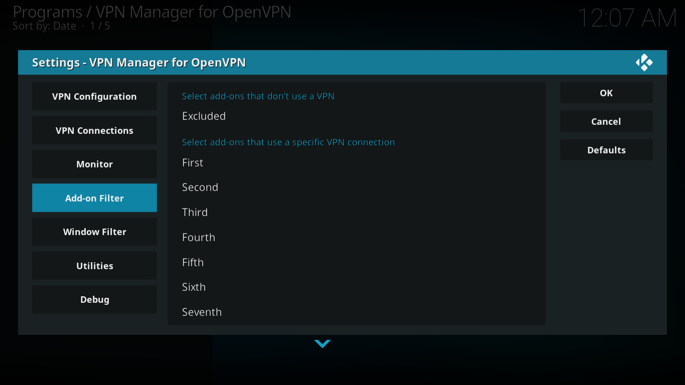 Filtr dodatków do Menedżera VPN