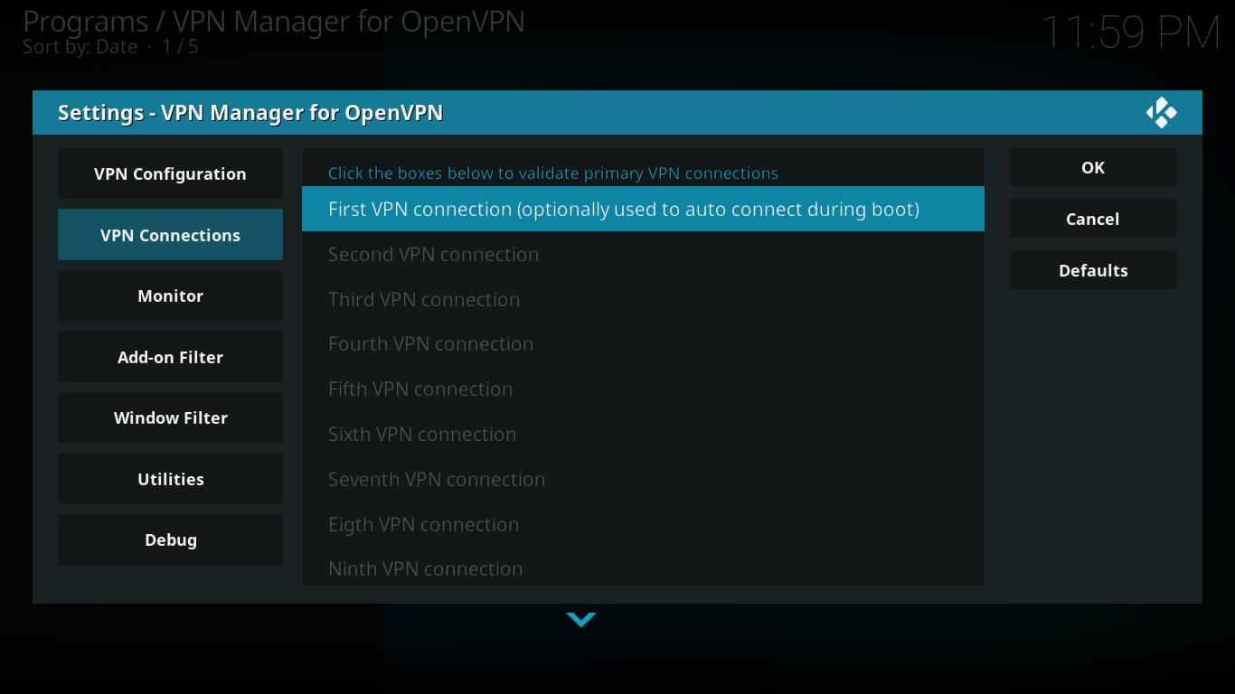 Połączenia Menedżera VPN