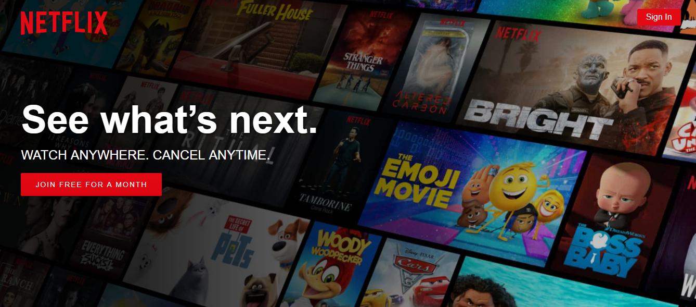 Strona internetowa Netflix