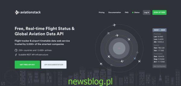 Status lotu w czasie rzeczywistym i API globalnych danych lotniczych