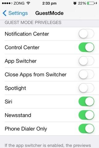 Uprawnienia GuestMode iOS