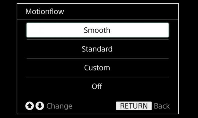 Opcje Motionflow w telewizorze Sony