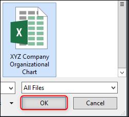 Przeglądaj komputer w poszukiwaniu pliku Excel
