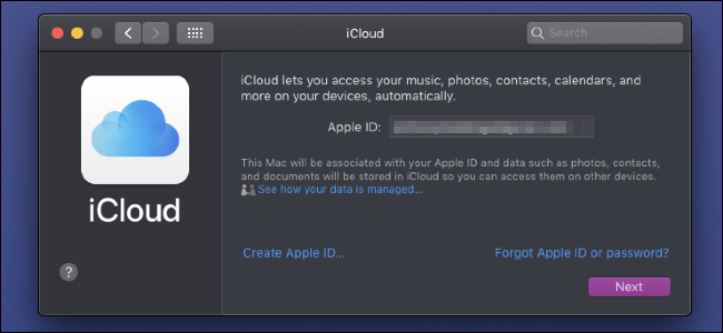 Strona logowania iCloud