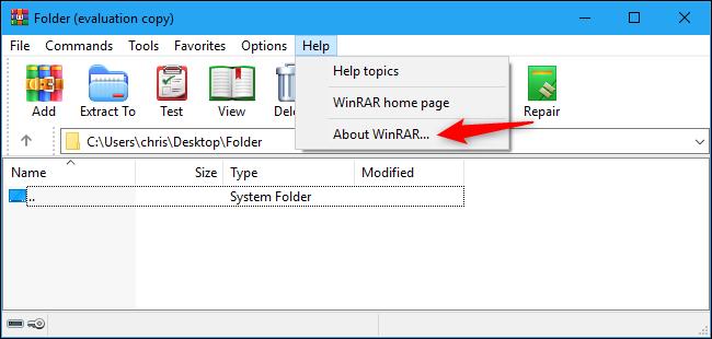Znajdź numer wersji WinRAR w menu Pomoc