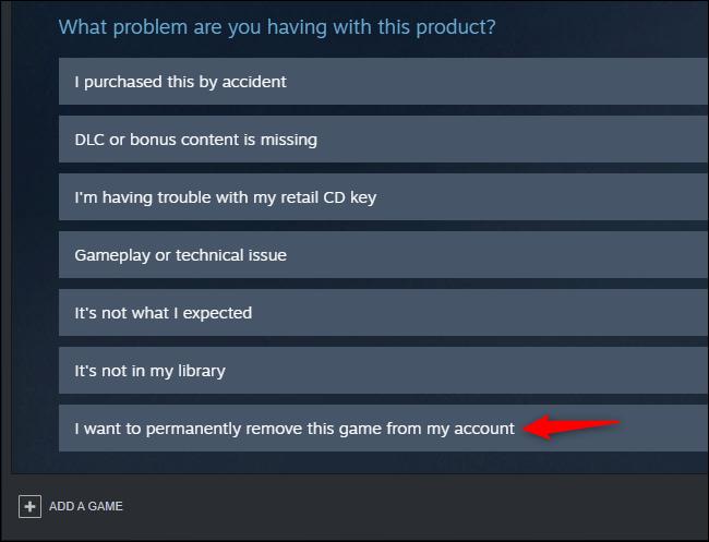 Opcja trwałego usunięcia gry z konta Steam