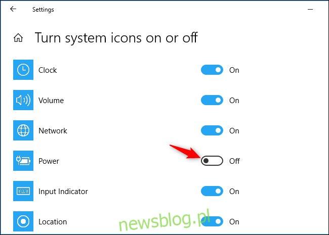 Możliwość wyświetlenia ikony baterii na pasku zadań systemu Windows 10 w aplikacji Ustawienia