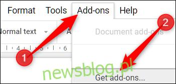 Otwórz menu dodatków, a następnie kliknij opcję Pobierz dodatki