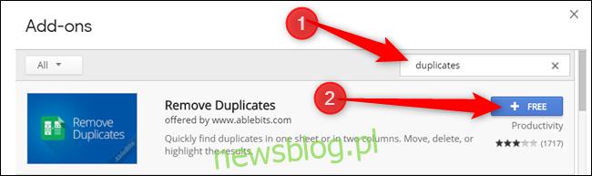 Wpisz Duplicates w pasku wyszukiwania, a następnie kliknij opcję Free w dodatku, który chcesz zainstalować