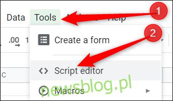 Kliknij Narzędzia, a następnie kliknij Edytor skryptów