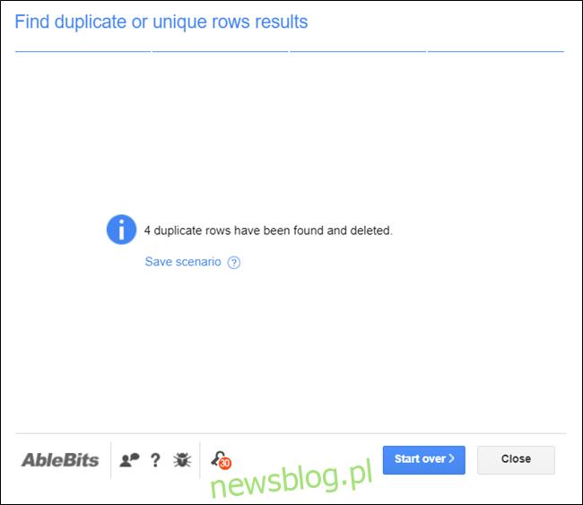 Strona wyników pokazująca, ile wpisów zostało znalezionych w twoim dokumencie