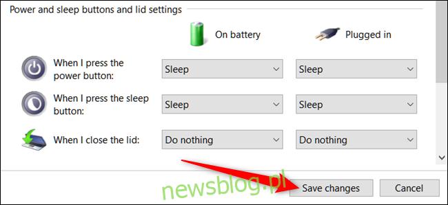 Gdy jesteś zadowolony z ustawień dla opcji On Battery i podłączony, kliknij Zapisz zmiany