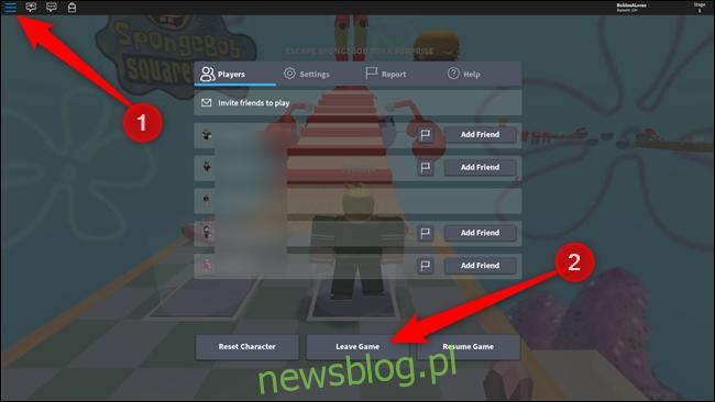 Aby opuścić grę, kliknij ikonę Hamburgera, a następnie Opuść grę