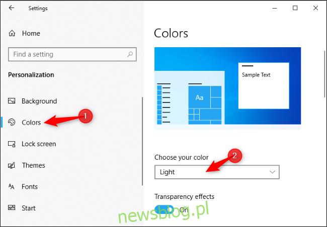 Włączanie jasnego motywu w aplikacji Ustawienia systemu Windows 10