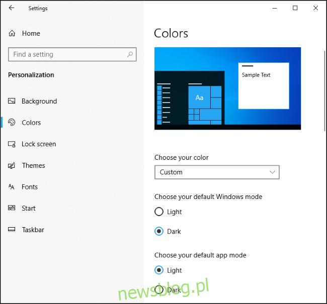 Stary tryb ciemnego systemu Windows i tryb aplikacji światła w systemie Windows 10