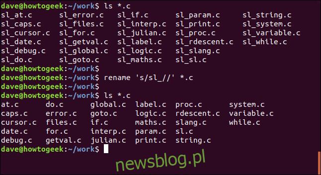 zmień nazwę 's / sl _ //' * .c w oknie terminala
