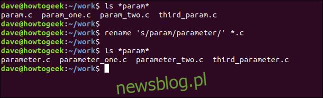 zmień nazwę 's / param / parameter' * .c w oknie terminala