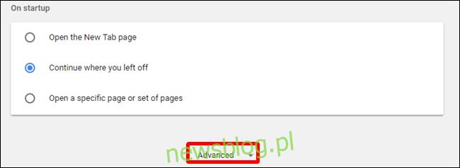 W sekcji Ustawienia kliknij zaawansowane, znajdujące się u dołu strony