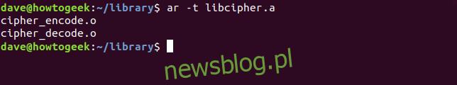 ar -t libcipher.a w oknie terminala