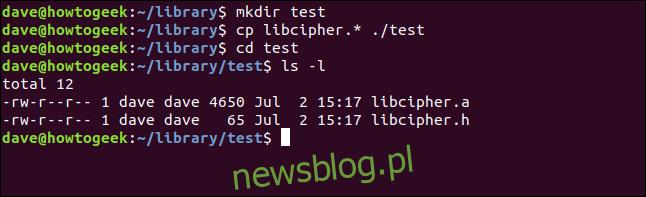 cp libcipher. * ./test w oknie terminala