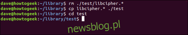 rm ./test/libcipher.* w oknie terminala
