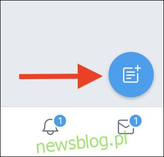 Stuknij ikonę Nowa lista w mobilnej wersji Twittera.
