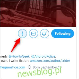 Kliknij trzy pionowe kropki po prawej stronie strony profilu konta, które chcesz dodać.