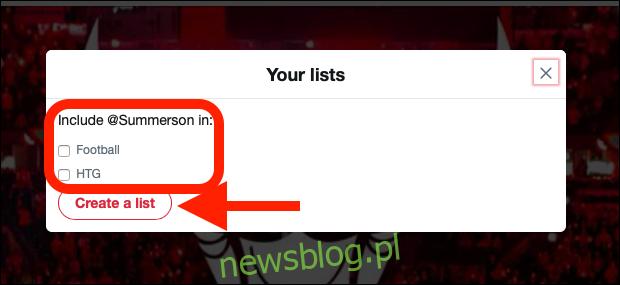 Kliknij listę, z której chcesz kogoś dodać lub z której chcesz usunąć.