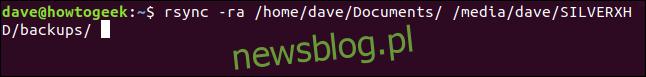 rsync -ra / home / dave / Documents / / media / dave / SILVERXHD / backups / w oknie terminala
