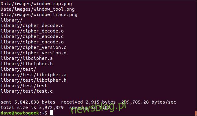 rsync przez połączenie ssh w oknie terminala