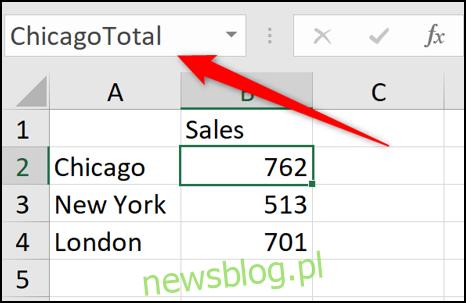 Definiowanie nazwy w Excelu