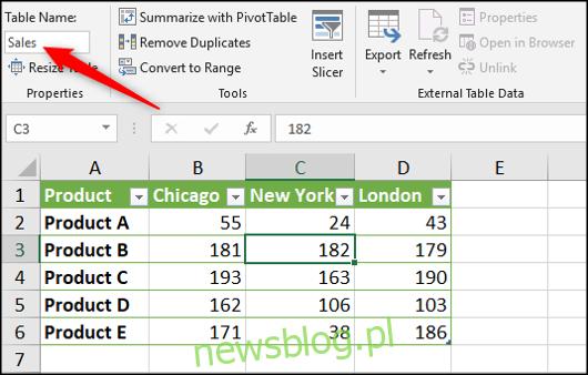 Przypisz nazwę do tabeli programu Excel