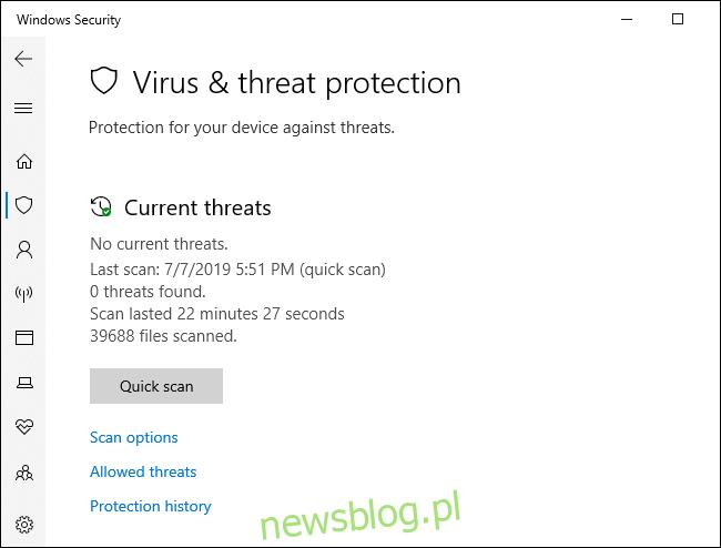 Menu skanowania antywirusowego Windows Defender.