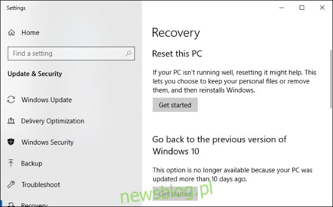 Menu odzyskiwania systemu Windows 10.