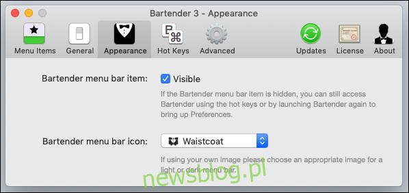 Opcje w Barman