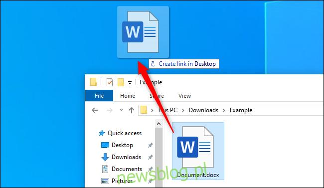 Tworzenie skrótu na pulpicie z pliku w Eksploratorze plików systemu Windows 10
