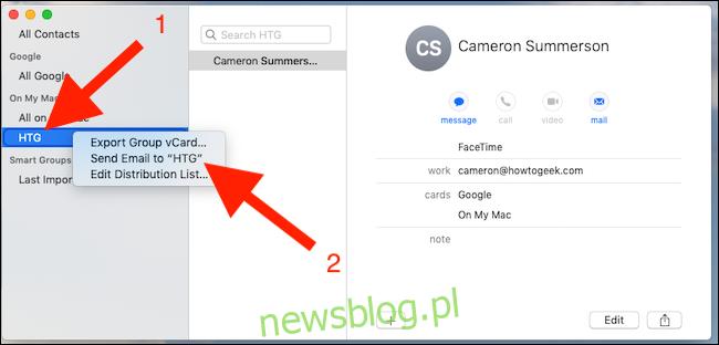 Kliknij grupę prawym przyciskiem myszy i kliknij Wyślij e-mail do grupy