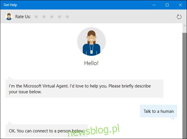 Poproszenie wirtualnego agenta pomocy technicznej o przedstawiciela ludzkiego w systemie Windows 10