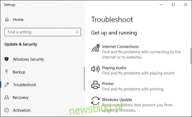 Narzędzia do rozwiązywania problemów w aplikacji Ustawienia systemu Windows 10