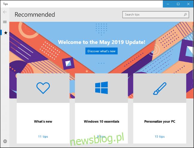 Aplikacja Porady systemu Windows 10