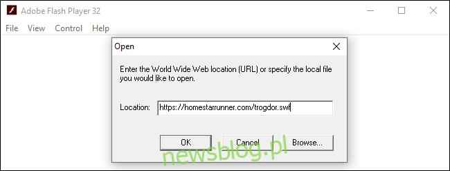 Otwieranie pliku Flash z Internetu w samodzielnym programie Adobe Flash Player