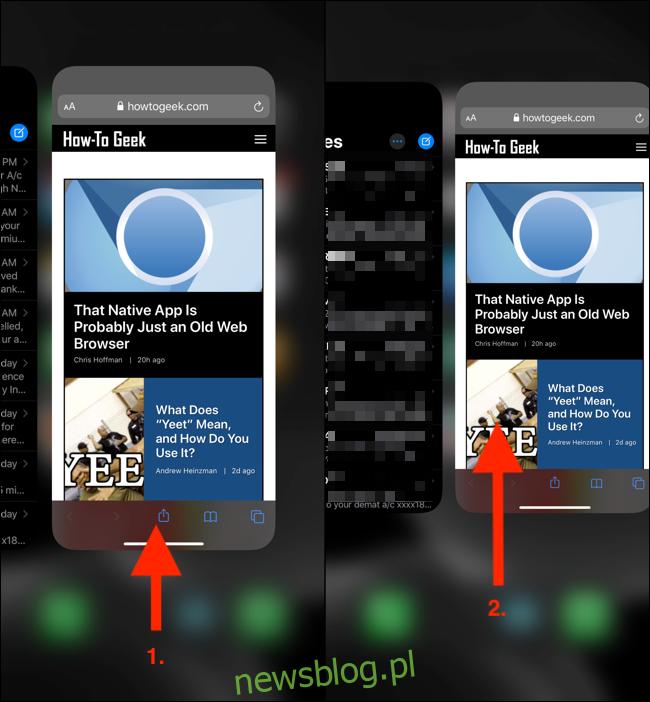 Przesuń palcem w górę z paska głównego i przytrzymaj, aby wyświetlić przełącznik aplikacji.