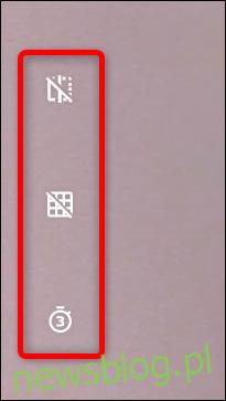 Wybierz między tymi opcjonalnymi ustawieniami, które pomogą Ci zrobić lepsze zdjęcie. Lustro, linie siatki i samowyzwalacz.